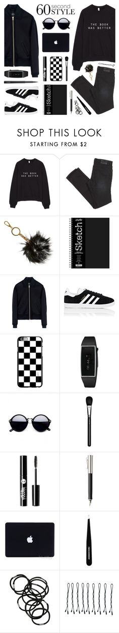 """""""60 Second Style: Black & White - @elliewriter"""" by lgb321 ❤ liked on Polyvore featuring B Brian Atwood, McQ by Alexander McQueen, adidas, MAC Cosmetics, Charlotte Russe, Faber-Castell, Tweezerman, Monki, BOBBY and blackandwhite"""