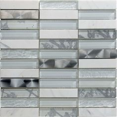 Artist White Glass and Stone Blend Mosaic Tile #white_glass_mosaic_tile #stone_mosaic_tile