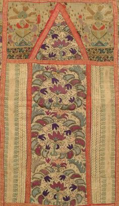 """Prayer Arch Composite. Ottoman Empire (Turkey), composed in late 19th c. from fragments of older vintage, silk and metallic thread embroidery on cotton and linen, very good condition, 18"""" x 37"""""""
