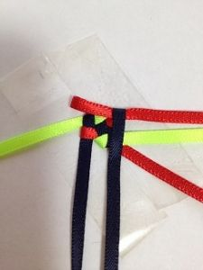ハワイアンリボンレイ ヘキサグラムレシピ - アラフォーおばちゃんの憂さ晴らし Ribbon Lei, Diy Ribbon, Ribbon Crafts, Ribbons, Box Braids Tutorial, Graduation Leis, Weaving Patterns, Blog Entry, Basket Weaving