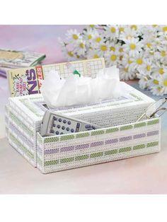 Plastic Canvas - Tissue Topper Patterns - Sets Patterns - End Table Organizer Plastic Canvas Pattern