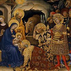 Gentile da Fabriano - Magi in adorazione, dettaglio Adorazione dei Magi (corteo centrale) - tempera e oro su tavola - 1423 - Galleria degli Uffizi, Firenze