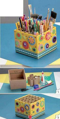 10 DIY Storage Art-DIY Home ideas that make statement - Craftered Toilet Paper Roll Crafts, Cardboard Crafts, Home Crafts, Diy And Crafts, Arts And Crafts, Recycled Crafts, Diy For Kids, Crafts For Kids, Diy Magazine Holder