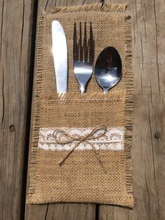 Cutlery Holder 1 SAMPLE Place Table Runner Burlap Country Wedding Vintage Rustic