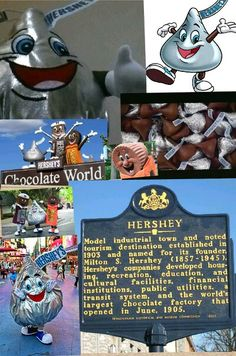 I love Hershey, Pennsylvania! (And chocolate) Chocolate World, Hershey Chocolate, Work Travel, Travel Usa, Dream Vacations, Vacation Spots, Indoor Amusement Parks, Hershey Park, Keystone State