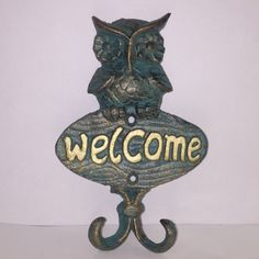 Owl Welcome Hook with 2 Hooks Welcome, Hooks, Vintage Inspired, Nostalgia, Owl, Christmas Ornaments, Holiday Decor, Inspiration, Home Decor