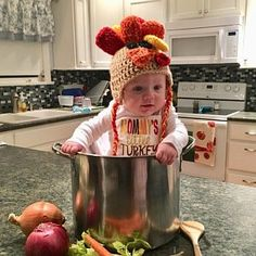 Baby Christmas Photos, Thanksgiving Pictures, Thanksgiving Baby, Holiday Pics, Monthly Baby Photos, Newborn Baby Photos, Baby Turkey, Turkey Hat, Fall Baby Pictures