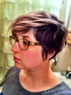 Short hair silver pastel pink lavender undercut grown out pixie