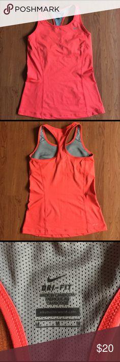 🍊NIKE DRI-FIT TANK 🍊ORANGE NIKE DRI-FIT TANK WITH BUILT IN SPORTS BRA.  GUEC! Only worn a couple times.  Size medium, TTS. Nike Tops Tank Tops
