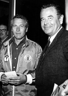 Paul Newman and Glenn Ford attend the closed circuit screening of the Frazier-Ali championship fight in Beverly Hills, 1971.