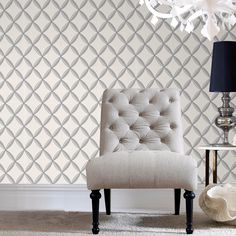 Anis White Wallpaper - Silver Geometric Wall Coverings by Graham  Brown: Removable