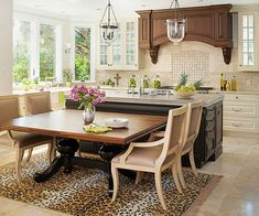 trendy kitchen island with seating at end dining tables Home Interior Design, House Interior, Kitchen Island Table, Home, Kitchen Design, Kitchen Eating Areas, Kitchen Island Design, Kitchen Dining Room, Dining Room Windows