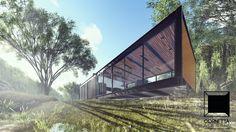 Projeto para loft em estrutura metálica cercado pela natureza. #loft #metalica #modern #architecture #prefab