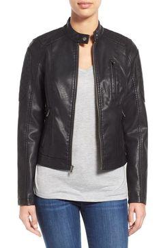 LEVI'S Quilt Detail Faux Leather Racer Jacket. #levis #cloth #