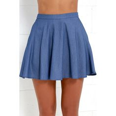 Lulus  Accompany Me Blue Chambray Two-Piece Dress ($27) ❤ liked on Polyvore featuring dresses, blue dresses, skater skirts, long circle skirt, lulus dress and fitted dresses
