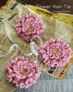 "Free pattern for ""Crochet Ruffle Flower Hair Tie Brooch""!"