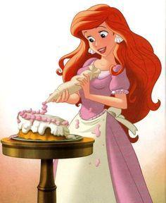 Ariel decorates Eric's cake