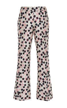 Cherry Jacquard Flared Pants by GIAMBA Now Available on Moda Operandi