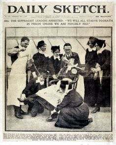 A Suffragette being force fed. Don't forget what women went through for your right to vote. Don't dishonor them when you exercise it!