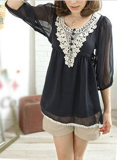 Women's 3/4 Sleeve Chiffon Top with Lace