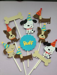 Set Of 12 Dog Cupcake Toppers Gret for Baby Showers OR Birthday, Dog Party, Puppy Party Dog Themed Parties, Puppy Birthday Parties, Dog Birthday, Third Birthday, Birthday Party Themes, Birthday Hats, Birthday Ideas, Dogs Party, Puppy Party