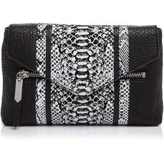 Milly Melrose Snake-Embossed Convertible Clutch ($370) ❤ liked on Polyvore featuring bags, handbags, clutches, black, black clutches, python print handbag, milly handbags, convertible clutch and black handbags