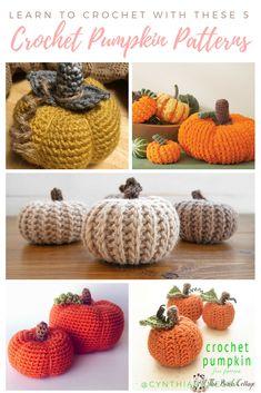 5 Crochet Pumpkin Patterns by The Birch Cottage Thanksgiving Crochet, Crochet Fall, Holiday Crochet, Free Crochet, Crochet Pumpkin Pattern, Halloween Crochet Patterns, Pumpkin Patterns, Fall Patterns, Crochet Craft Fair