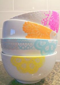 GREAT idea for ALL those 1.00 bowls from Bed Bath & Beyond I stocked ip on!!!!    Martha Stewart Multi Surface Paint -bowls  #CheckOutMyCraftMartha