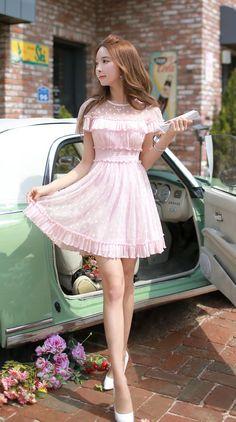 Pink Dots Chiffon Layer Ruffle Designer Dress - Morpheus Boutique
