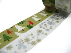 Christmas Trees Gold and Silver Snowflakes Washi by chickydoddle, $7,50