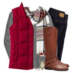 Red down vest, tartan scarf & striped top