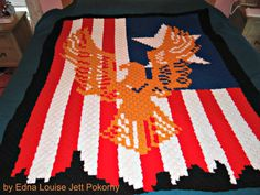 Eagle on Flag Afghan C2C Graph & Written Word by CrochetCouch