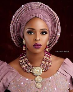 Fashion and Styles - Beautiful And Perfect Looking Gele And Make Over Styles - O. African Wedding Attire, African Attire, African Fashion Dresses, African Lace, African Women, African Dress, African Traditional Wedding, African Head Wraps, African Beauty