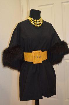 Mad Man Style. Black Fox Fur Cape Stole Shawl Vintage Wrap Wool by Vtgantiques, $199.00
