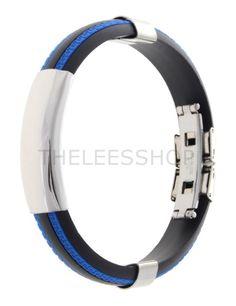 (YPBR017-BLUE) Mens Stainless Polished Rubber Stripe Colorful Wrist Fashion Bracelet