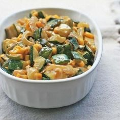Got a bumper crop of zucchini?  Try this vegetarian side dish with sauteed zucchini, corn and roasted green peppers.