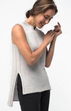 Knitting Pattern Nova Tunic - #ad Elegant sleeveless top with high low hem and side slits by Shellie Anderson. tba