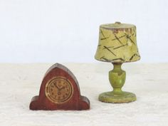 Strombecker Dollhouse Furniture Antique Clock and Lamp Wood  Designs