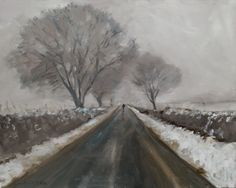 ARTFINDER: Snow on Garrowby Hill by Malcolm Ludvigsen - I painted this 30x24'' oil on canvas on Garrowby Hill nearYork during the recent snow and got very cold in the process.  It's a proper plein-air painting - p...