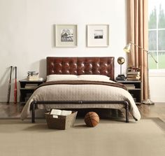 Bed Features Metal Frame And Vintage Brown Top Grain Leather Padded Headboard Measures X H Some Embly Required