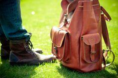 leather tan rucksack in London