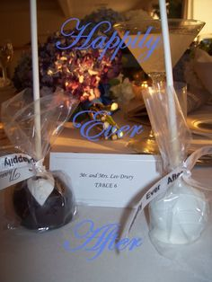 Bride & Groom wedding cake pop favors.