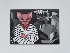 Acrylic Painting, Pablo Picatso, Sphynx Cat Pet Portrait, Original Artwork inspired by Picasso, Folk Art, UNFRAME (5x7 inches) by JoGranadosMosaics on #etsy #picasso #picatso #petportrait #sphynxcat #folkart #guernica