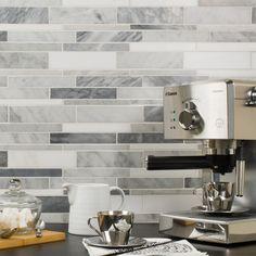 Stone Mosaic Wall Tile White Blend installed on a kitchen backsplash. Kitchen Tiles, Kitchen Decor, Kitchen Design, Gray Kitchen Backsplash, Pantry Design, Kitchen Cupboard, Backsplash Tile, Backsplash Ideas, Rustic Kitchen