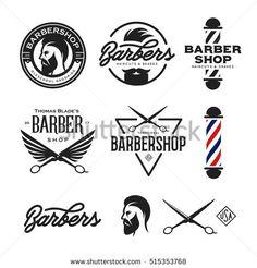 barbershop hair salon logo vintage