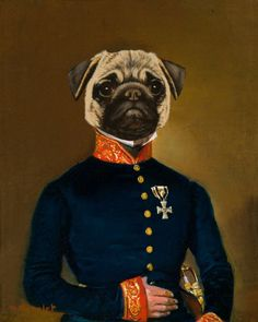 Pug Arrives Premium Giclee Print by Thierry Poncelet at Art.com