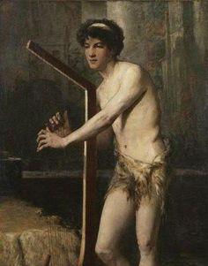 Jeune éphèbe jouant de la harpe by Jules-Élie Delaunay