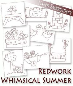 Hand Embroidery Redwork Summer Things 8 patterns