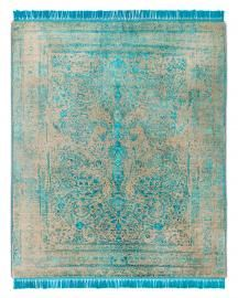 Rug Star. Rajasthan 09 No. 09 Electric Blue. Silk Fringes. 35% wool 65% Chinese silk. 250 cm x 300 cm