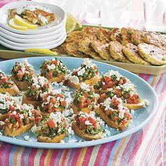 Healthy Appetizer: Fresh-Herb Tomato Crostini  Per serving: Calories 93; Fat 6.1g (sat 1.6g, mono 3.9g, poly 0.5g); Protein 2.1g; Carb 8.7g; Fiber 2.4g; Chol 6mg; Iron 0.9mg; Sodium 243mg; Calc 53mg.